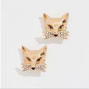 New Kate Spade Gold Tone So Foxy Fox Stud Earrings